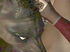 3D del Brunette leccare e scopare da un lupo mannaro