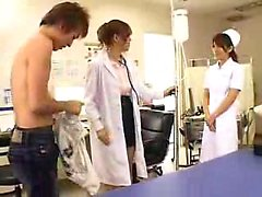 Naughty Oriental doctor with big hooters knows her way arou