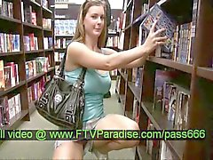 miyu teen redhead chick walking in a library