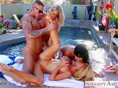 Sexy wives Emma Starr, Jessica Jaymes and Nikki Benz sharing cock