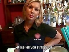 Blonde barmaid earns some for sex in bar