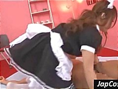 Hot Asian maid gets fingered and then sucks his cock in 69