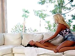 Busty masseuse rubs teen