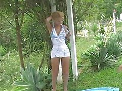 Tall blond shemale being fucked in the garden