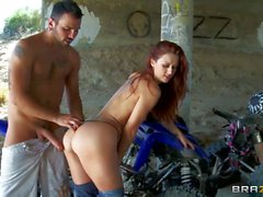 Hot redhead Karlie gives Voodoo a hot ride