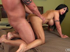 Big tit Jewels Jade gives a foot job before she's banged from behind