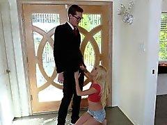 Mega hot blonde teen Alex Grey sucks a fat cock