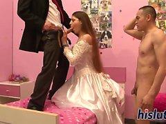 Naughty slut gets banged on her wedding night