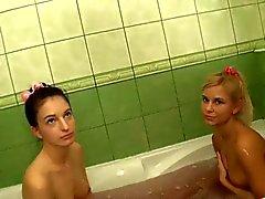 Double Creampie for 2 skinny euro Teens ctoan