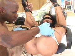 Horny brunette slut with big boobs, Mason Moore, is tied...