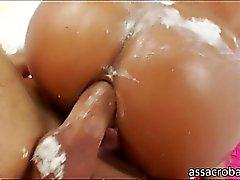 Superb latina vixen Jynx Maze creams her big butt and fucked