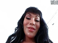 Hung TS Mia Isabella jerks off her cock