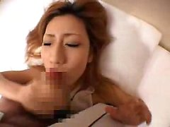 Pretty Oriental babe sucks a dick and takes a hot cumload o