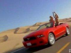 Big Juggs Playboy Playmates gillar att göra naken sand boarding