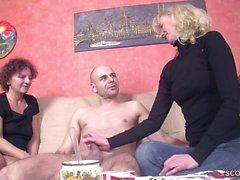 Dois, alemão, MILF, ensinar, jovem, virgem, Menino, foder