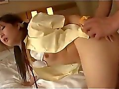 Schoolgirl With Small Tits Getting Her Hairy Pussy Fucked Hard On The Bed In The Hotel Room