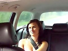 Busty Czech beauty wanks cock in taxi