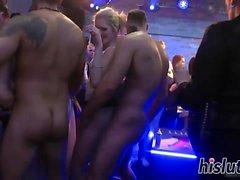 Härliga brudar have fun i club