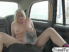 Tattooed blonde woman sucks off and banged in the cab