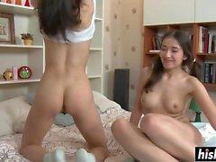 Horny teens get a big dick