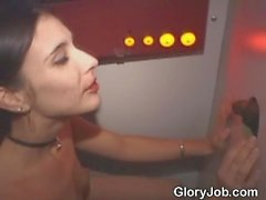 Brunette Amateur Sucking One Dick After Another Through Hole