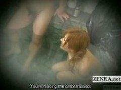 Altyazılı Japonya kadın teşhirci grubu banyo cesaret