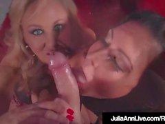 Busty Milfs Julia Ann & Jessica Jaymes Do Double BlowJob!