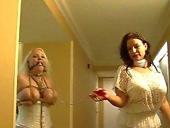 Voll dargestellt Mädchen in weißen Dessous Hogtie