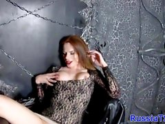 Glam russian tgirl playing with her cock