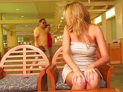 Blond hottie masturbating in public