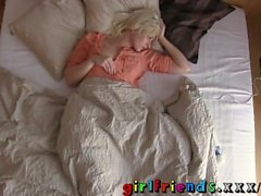 Girlfriends Stunning blonde plays with her new toy