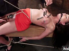 BDSM drilling with hot Raven Bays