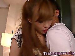 Japanese teen banged hard by older bloke