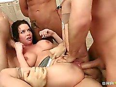 Veronica Avluv takes five cocks in the locker room