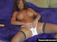 Hot Cougar Deauxma Squirts A Puddle After Dildo Banging Twat