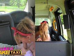 Женские Поддельный такси Блонд водители большие сиськи получить покроется спермой