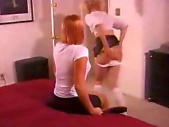 Spanking over Leatherskirt