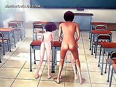 Del Anime ragazze in un'orgia Stranezze a scuola