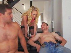 Anal whore Kagney Linn Karter receives double penetration from hunks