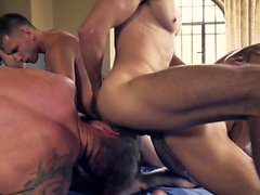 Hot gay double penetration with cumshot
