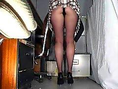 Toimisto tyttö sukkahousut upskirt