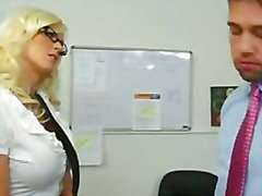 Busty blonde secretary takes huge cock from boss to keep her job