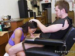 Ebony hairdresser bangs dudes big cock
