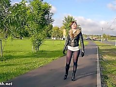 Jeny Smith moda pantyhose público intermitente