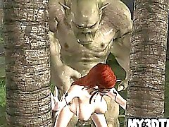 Hot 3D cartoon elf babe gets fucked hard by an orc