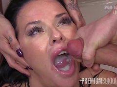 Premium Bukkake - Veronica Avluv swallows 61 huge mouthful c