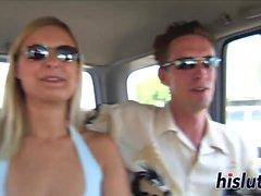 Sexy Alana pleasures two massive members