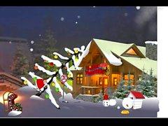 De Santa Claus disfrutando sus de regalos de Navidad