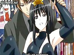 Brunette anime gaat uit en krijgt haar kut geboord in het openbaar