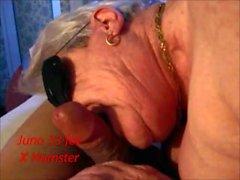 Granny enmascarado chupando, lamiendo, jugando en medias de red